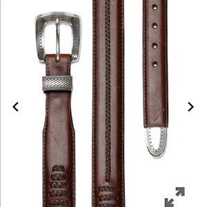 Onyx by Brighton Men's Brown Salina Leather Belt
